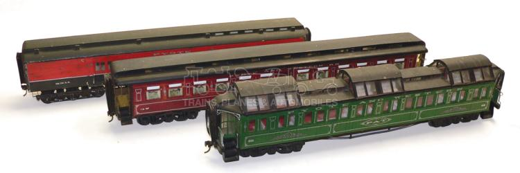 Three scratch-built O-gauge Pyote & Western Passenger Coaches