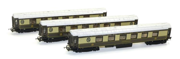 Three Hornby OO-gauge Pullman Coaches