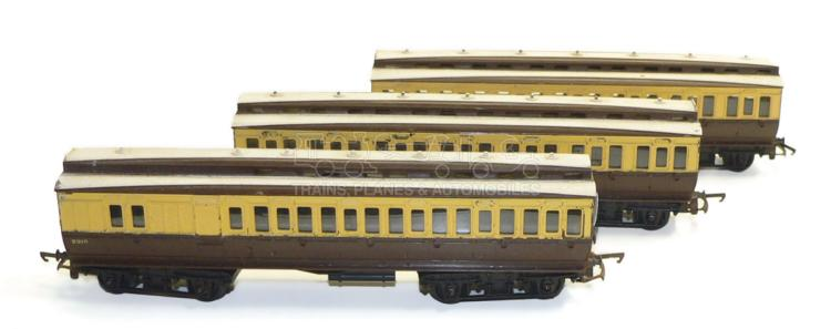 Three Tri-ang Clerestory Roof bogie Passenger Coaches