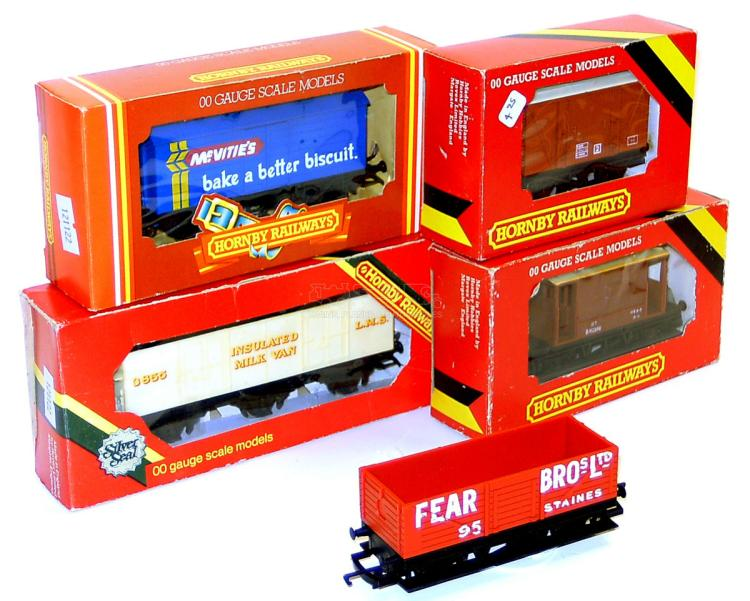 Five Hornby OO-gauge Goods Wagons