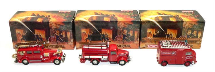 Three Matchbox Models of Yesteryear Fire Engines