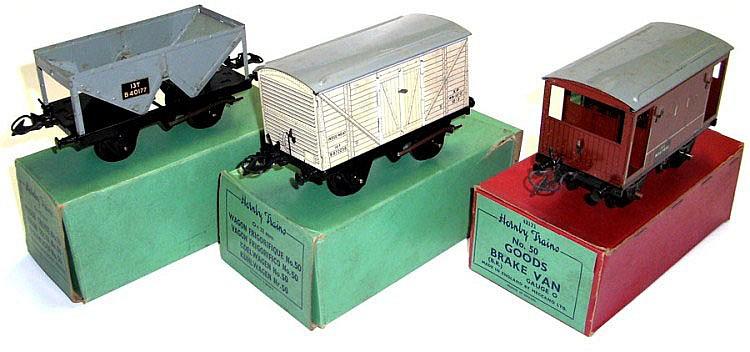 Three Hornby O-gauge No. 50 Wagons
