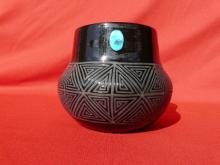 Sleeping Beauty Turquoise Hand Crafted Pot
