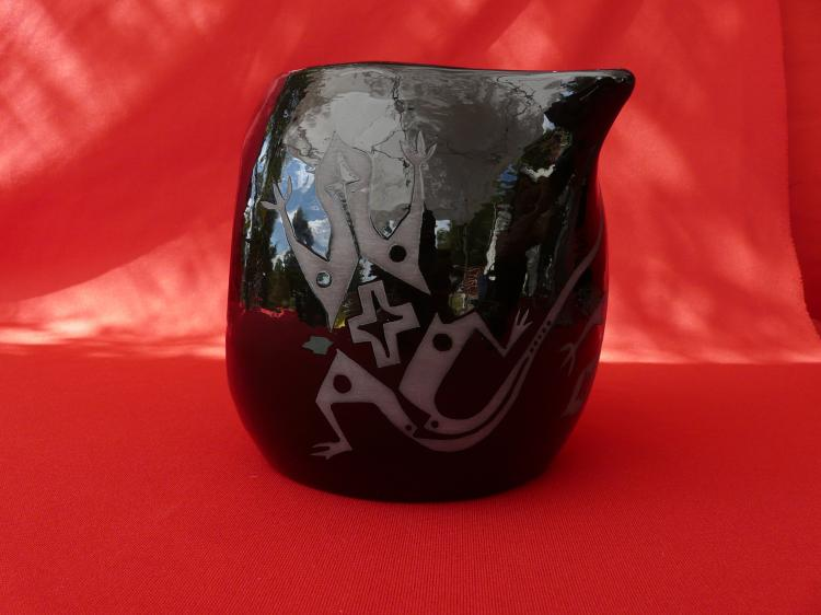 Handmade Black Ceramic Pitcher