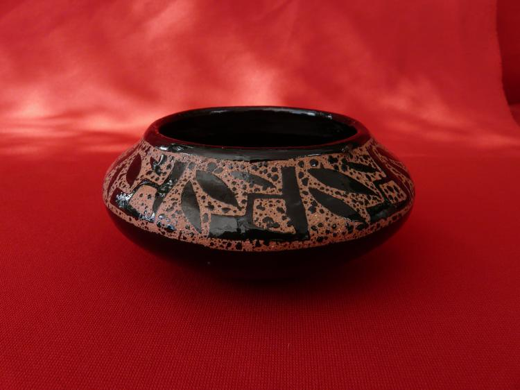 Handmade Micaceous Clay Bowl With Design On The Inside