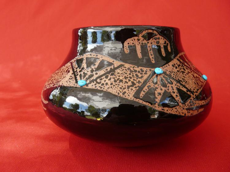 Micaceous Clay With Sleeping Beauty Turquoise Owl Seed Pot