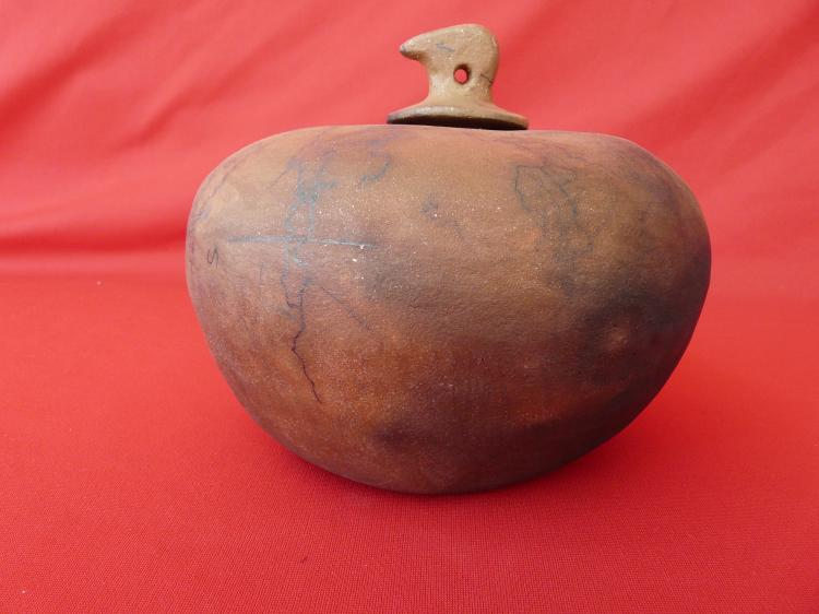 Large Seed Jar Horse Hair On Top Hand Dug Micaceous Clay Pit Fired