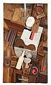 ƒ George Segal (1924-2000) Café Still life with bow tie (Braque), 1986 Plâtre peint et bois Painted plaster and wood 130 x 73 cm - 5...