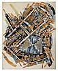 Arman (1928-2005) Sans titre, 1997 Chaise découpée, pinceaux et acrylique sur toile marouflée sur panneau Signé sur le côté gauche S...