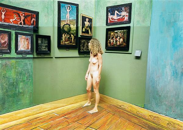 Robert Schwarz (né en 1950) nu visitant une exposition, Louvre 31/08/2006, 2011 Technique mixte et collage de photo sur carton Titré...