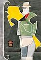 ƒ Richard Lindner (1901-1978) Masked Man, 1968 Aquarelle, crayon et collages sur papier Signé et daté en bas à droite Watercolor, pe...