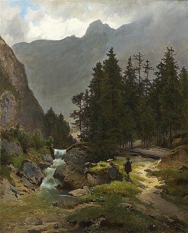 Melchior FRITSCH (Vienne 1825 - 1889) Promeneurs au bord du cascade dans les Alpes Papier marouflé sur toile 53 x 42,5 cm Signé et d...