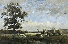 Edmond RENAULT (Paris 1829 - 1905) Chênes verniculés avec des chevaux patûrant Toile 44,5 x 68 cm Signée et datée en bas à gauche : ...