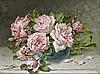 Charles de NAEYER (actif aux XIX-XXèmes siècles) Bouquet de roses dans un vase Sur sa toile d'origine 32 x 42 cm Signée en bas à gau..., Charles De Naeyer, Click for value