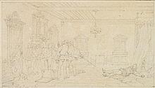Attribué à Paul DELAROCHE (Paris 1797-1856) L'assassinat du duc de Guise Crayon noir Annoté en bas à gauche 10 x 17cm Tâches et piqû...