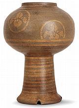 ÉMILE LENOBLE (1875-1940)Pied de lampe calice en grès, corps sphérique aplati sur haut talon à base échancrée, décor de bandes et de...