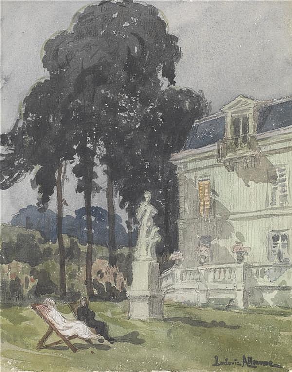 Ludovic Alleaume ( 1859 - 1941) Ensemble de trois gouaches sur papier représentant des paysages (encadrées)