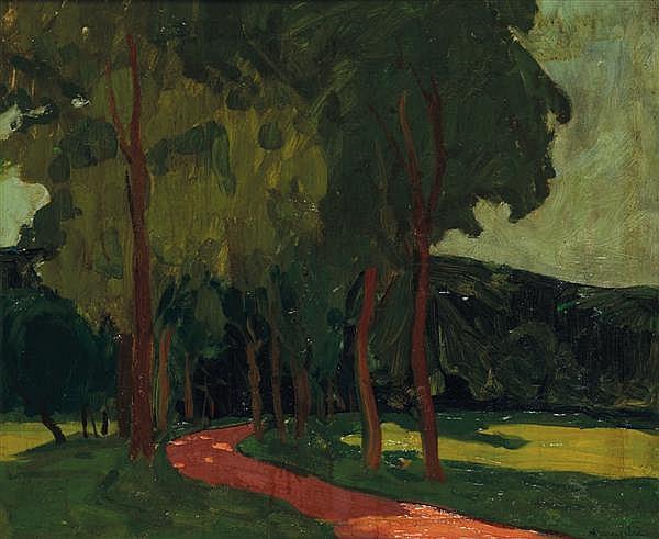 ADOLPHE-MARIE BEAUFRÈRE (1876-1960) CHEMIN DANS LA FORÊT Huile sur toile Signée en bas à droite 46 X 55 cm