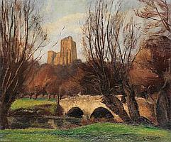 Andre Hebuterne (1894-1979) Paysage au pont Huile sur toile Signée en bas à droite 54 x 65 cm