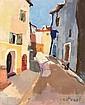 Anne CastEret (1933-2007) Ruelle d'un village Corse Huile sur toile Signée en bas à droite 46 x 39 cm