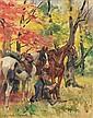 Woiciech (Aldabert) Ritter von Kossak (1856-1942) Soldat assis avec deux chevaux, 1919 Huile sur toile Signée et datée en bas à gauc...