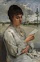 Anonyme Jeune femme à la lecture Huile sur panneau 40,5 x 27 cm