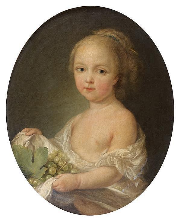 Carle Van LOO (Nice 1705 – Paris 1765) Portrait de Marie-Rosalie fille de l'artiste Toile ovale 65 x 48 cm Signée à gauche : Carle V...