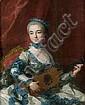 Louis-Michel Van LOO (Toulon 1707 – Paris 1771 ou 1775) Portrait de femme jouant de la guitare Toile 92 x 73 cm Signée et datée à dr..., Louis Michel Van Loo, Click for value