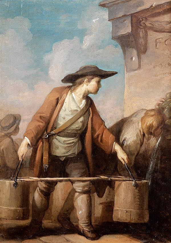 Charles MONNET (Paris 1732 - ? après 1808) Le porteur d'eau Panneau de chêne, une planche, non parqueté 27 x 20 cm Signé et daté en ...