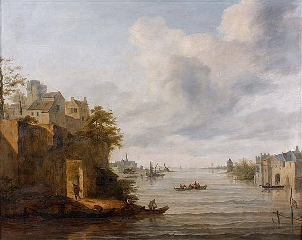 Charles ESCHARD  (Caen 1748 - ? 1810) Le passage du bac  Toile 81 x 100 cm Signée et datée sur le pan de mur à gauche : C