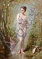 ƒCharles CHAPLIN (Les Andelys 1825 – Paris 1891)  La Baigneuse Toile 40 x 26 cm Signée en bas à gauche : Ch