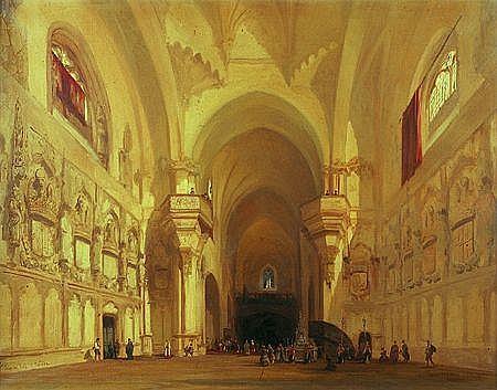 Adrien DAUZATS (Bordeaux 1804 - Paris 1868) Intérieur de la cathédrale Saint Jean des Rois à Tolède Sur sa toile d'origine 70 ...