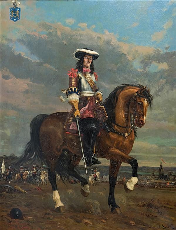 Émile Normand Saint-Marcel (1840-1914) Le capitaine de Mousquetaire Coderc de Lacam devant le siège de Valenciennes où il fut blessé...