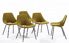 Pierre GUARICHE (1926-1995) & STEINER (Éditeur) Five chairs