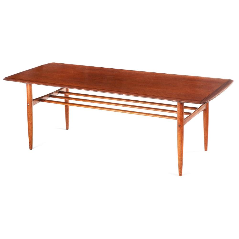 Alberts tibro grande table basse stucture en teck pi teme - Grande table basse ronde ...
