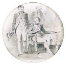 Jean Henri MARLET (Autun 1771-1847) Bonaparte à sa table de travail Crayon noir, estompe 10cm de diamètre
