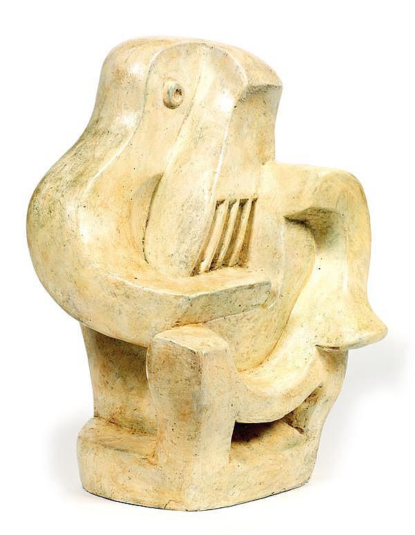 ƒJACQUES LIPCHITZ (1891-1973) JOUEUR DE GUITARE AU FAUTEUIL