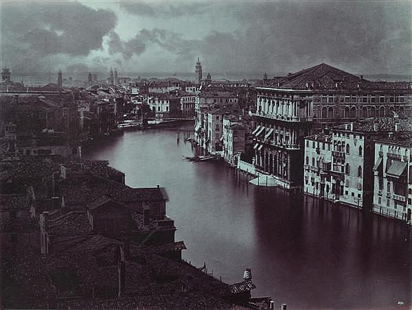 """CARLO NAYA (1816-1882) VENISE, GRAND CANAL, VERS 1880 Épreuve albuminée, """"colorisée"""", négatif verre, non montée, numérotée dans le n..."""