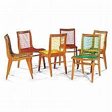 LOUIS SOGNOT (1892-1969) A pair of oak chairs, seat and back made of red