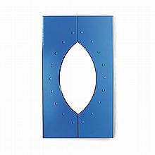 CRISTALARTE A rectangular mirror, doubled over by two plaques of blue glass, cutout to form an eye shaped opening, dotted border