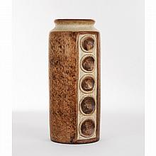MICHAEL ANDERSEN (MANUFACTURE) A stoneware cylindric vase, brown and beige enamels