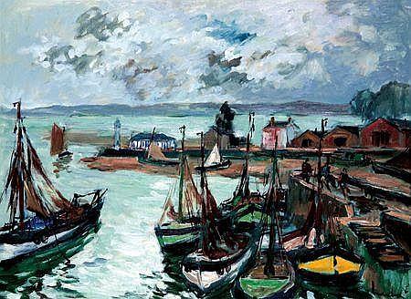 FERNAND HERBO (1905-1995) L''entrée du port de Honfleur Huile sur toile Signée en bas à droite 60 x 81 cm