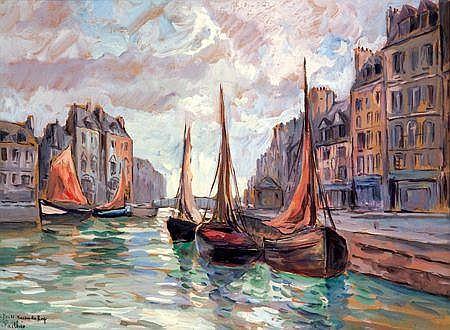 FRED PAILHES (1902-1991) Le Havre, le bassin du Roy Gouache et crayon sur papier Signée et située en bas à gauche 37 x 60 cm