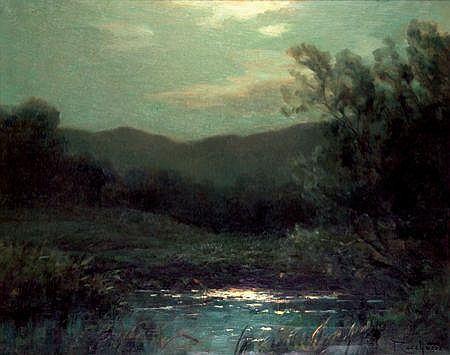 FRANÇOIS CHARLES CACHOUD (1866-1943) Nuit sur l''étang Huile sur toile Signée en bas à droite 65 x 83 cm