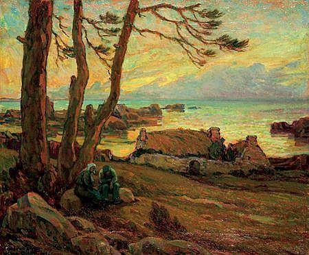NUMA FRANÇOIS GILLET (1868-?) Le Crépuscule, 1934 Huile sur toile Signée et datée en bas à gauche Dédicacée