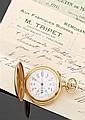 LIP VENDUE LE 23 MAI 1910 Montre de poche savonnette en or jaune avec chronographe monopoussoir et répétition minutes. Cadran émail ...