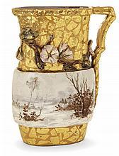 ÉMILE GALLÉ (1846-1904) An ovoid slurry enamelled earthenware jug, Nancy, 1884. Incised signatures