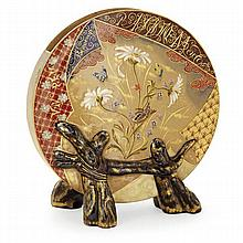 ÉMILE GALLÉ (1846-1904) A tambourine shaped enamelled earthenware vase in the Far East style, Raon l'Étape, 1879. Height. 8 7/8 In. - W