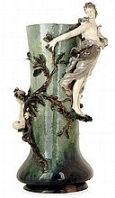 JEAN-PAUL AUBÉ (1837-1916) - (SCULPTEUR) - HAVILAND & CIE A large baluster enamelled earthenware vase, designed and executed by Jean-Pa