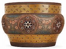 ERNEST CHAPLET (1835-1909) - HAVILAND & CIe A large circular brown enamelled stoneware Flower-pot cover, Paris, 1884-1885 Stoneware. (A